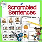 FALL LITERACY CENTERS | Sentence Building | Scrambled Sentences