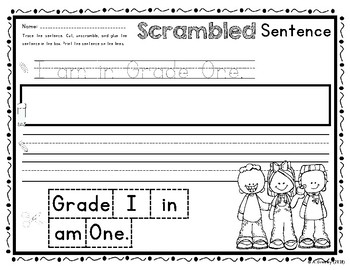 Scrambled Sentences - A Work on Writing Activity (Back to School)