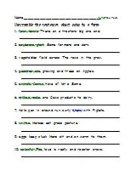 Scrambled Sentences - At the Park, At the Zoo, At the Farm, At School, At Home