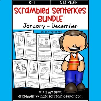 Scrambled Sentences Bundle (January-December)