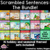 Scrambled Sentences Center - The Bundle - Holiday, Seasona