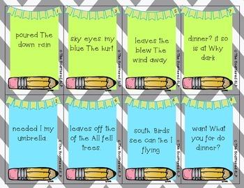 Scrambled Sentences - Complete Sentence Task Cards
