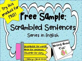 Scrambled Sentences: FREE Writing About Fish
