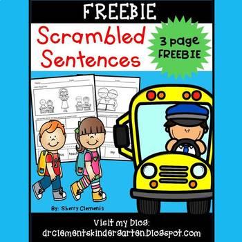 Scrambled Sentences FREEBIE