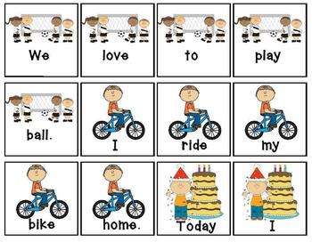 Scrambled Sentences High Frequency Words Literacy Reading Center RF.1.3 RF.K.3c