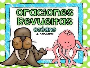 Oraciones revueltas Scrambled Sentences OCEAN SEA LIFE in Spanish