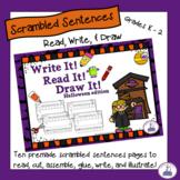 Scrambled Sentences - Read, Write, and Draw Halloween Theme