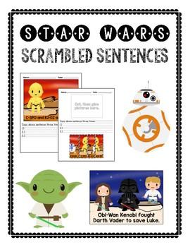 Scrambled Sentences: STAR WARS themed (FREEBIE)