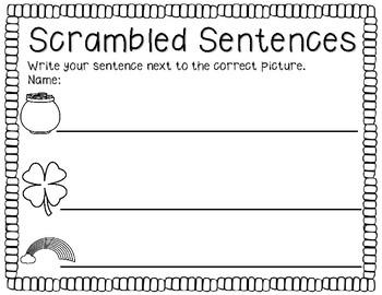Scrambled Sentences Saint Patrick's Day