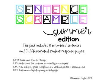 Sight Word Sentence Scramble Summer Edition