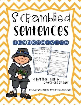 Scrambled Sentences: Thanksgiving