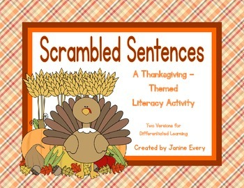Thanksgiving Scrambled Sentences