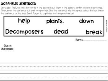 Scrambled Sentences The Science Version: Plant Life