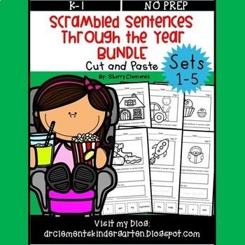 Scrambled Sentences Through the Year BUNDLE (Sets 1-5)