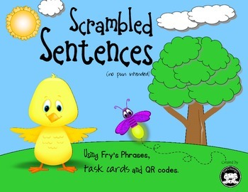 Scrambled Sentences… Using Fry's Phrases, task cards and QR codes.
