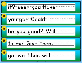 Scrambled Sentences… Using Fry's Phrases, task cards and QR codes Freebie
