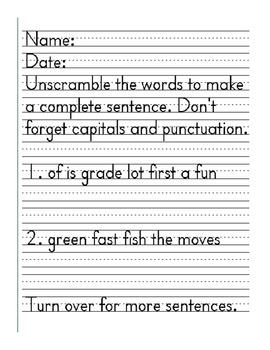 Scrambled Sentences Worksheet