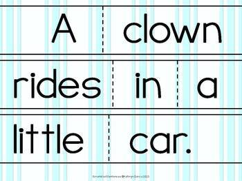 Scrambled Sentences Writing About the Circus