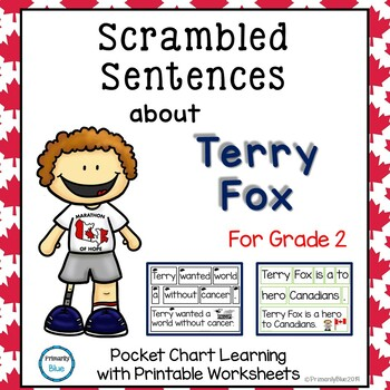 Scrambled Sentences about Terry Fox for Grade Two