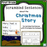 Scrambled Sentences about the Christmas Story for Kindergarten and First Grade