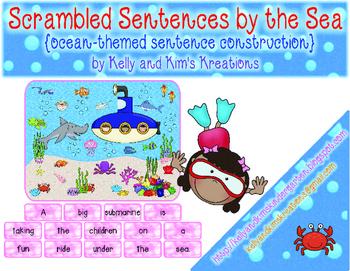 Scrambled Sentences by the Sea {ocean-themed sentence cons