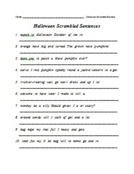 Scrambled Sentences - Fall, Halloween, Thanksgiving, Christmas, and Winter
