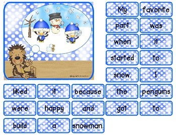 Scrambled Sentences in the Snow! {winter-themed opinion sentence construction}