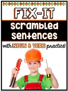 Scrambled Sentences w/ Noun and Verb Practice (Interactive PDF & Printable)