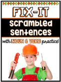 Scrambled Sentences w/ Noun and Verb Practice (Interactive
