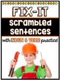 Scrambled Sentences w/ Noun and Verb Practice (Digital & P