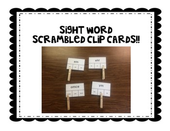 Scrambled Sight Word Clip cards