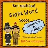 Thanksgiving Sight Word Scoot for Kindergarten and 1st Grades