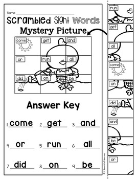 Scrambled Sight Words Mystery Puzzles