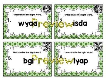 Scrambled Sight Words Task Cards: 5 List Bundle