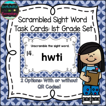 Scrambled Sight Words Task Cards: First Grade Set