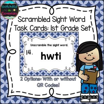 Scrambled Sight Words Task Cards: First Grade Set
