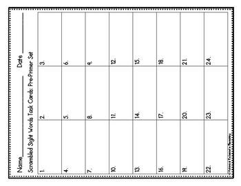 Scrambled Sight Words Task Cards: Pre-Primer Set