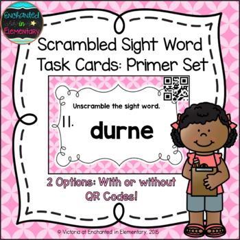 Scrambled Sight Words Task Cards: Primer Set