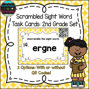 Scrambled Sight Words Task Cards: Second Grade Set