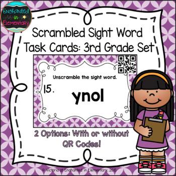 Scrambled Sight Words Task Cards: Third Grade Set