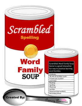 Scrambled Soup Word Family/ Rhyming Game/ Literacy Center