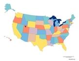 Scrambled States of America game board