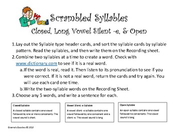 Scrambled Syllables - Closed, Long Vowel Silent -e, and Open