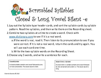 Scrambled Syllables - Closed and Long Vowel Silent -e
