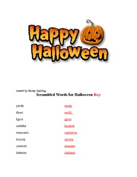 Scrambled Words for Halloween