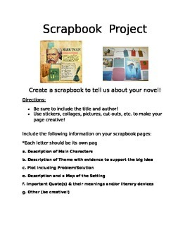 Scrapbook Book Report Project
