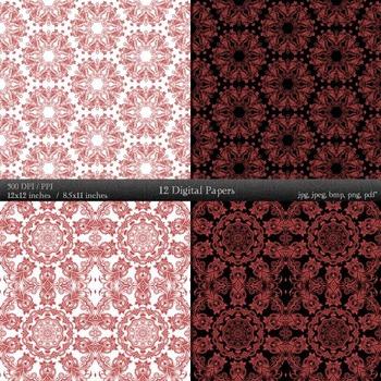Scrapbook Clip Clipart Flower Seamless Henna  Decoration Journal Scrapbooking A4