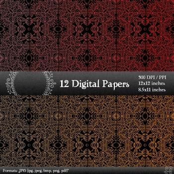 Scrapbook  Decoration Paper Background Graphics Layout Ornate Flower Sheet Set