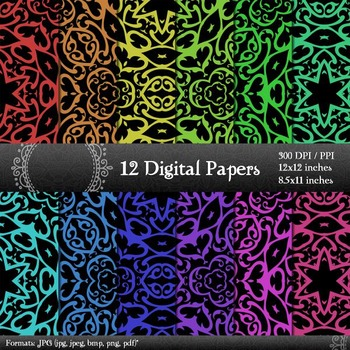 Scrapbook  Decoration Template  12 X 12 + 8.5 X 11 Ornate A4 Premade Corner Art