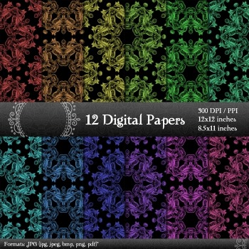 Scrapbook Decorative Art Kit Pattern Collag 12x12 + 8.5x11 Inch Clipart Paper A4